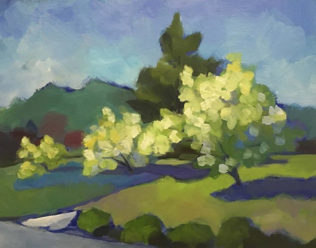 Flowering Trees Oil Painting
