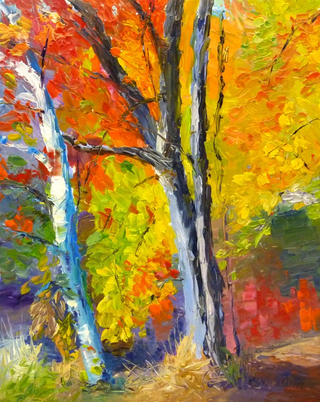 "Vibrant Fall and Birch 8""x 10"""