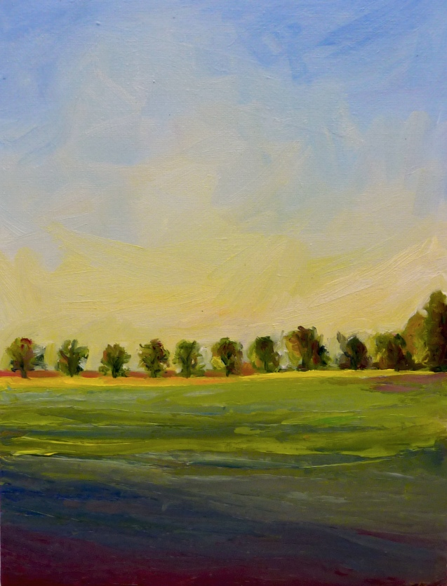 "Cranbury Fields and Trees  8"" x 10"" Oil"