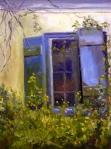 Worn Blue Window ans Wildflowers