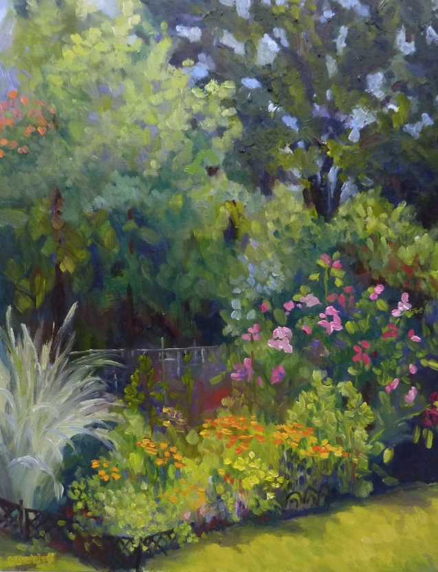 "Irvanes Garden 14"" x18"" Oil on Canvas Panel"