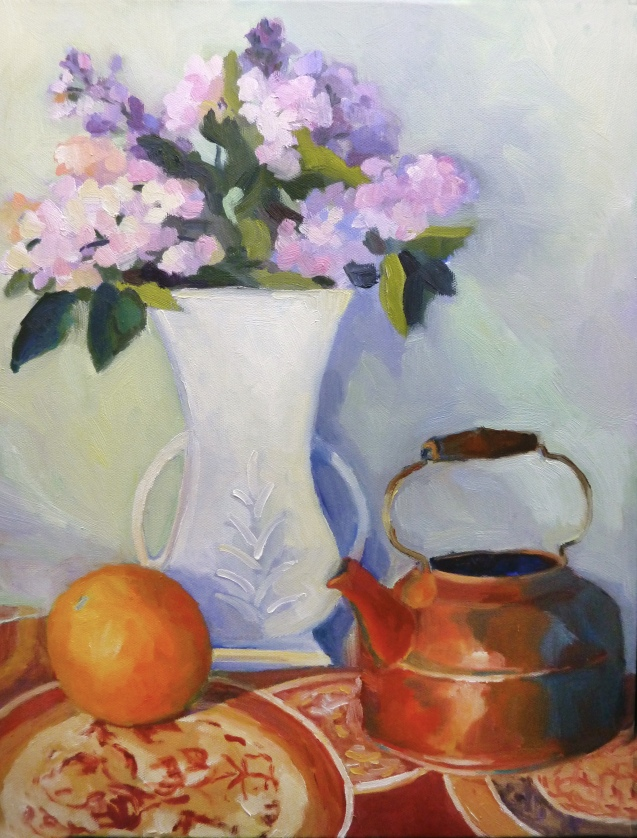 Lilacs and Kettle 14 x18_7447B