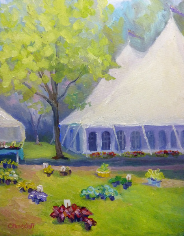 Tents and Flowers 14 x18