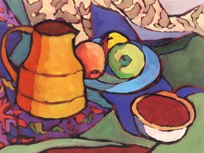 """""""Tapestry and Fruit"""" 9""""x 12"""""""