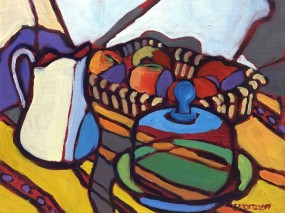 """SOLD """"Blue Glass and Apples II"""""""