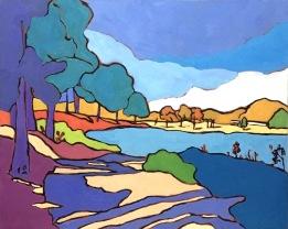 """A Vibrant Summer Lake"" 24"" x 30"""
