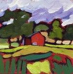 Miniature Farm Landscape Painting