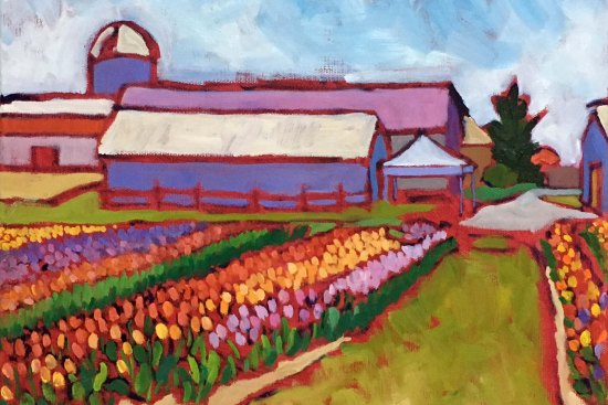 Original Farm Landscape Oil Painting for sale