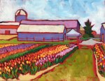 Farm Landscape Oil Painting on canvas