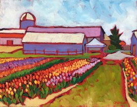Farm Landscape Oil Painting on canvas