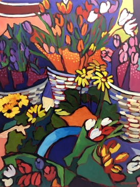Flower Baskets - Oil Painting