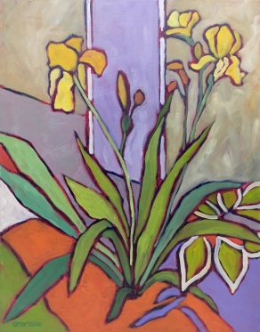 Abstract Iris Oil Painting on Canvas