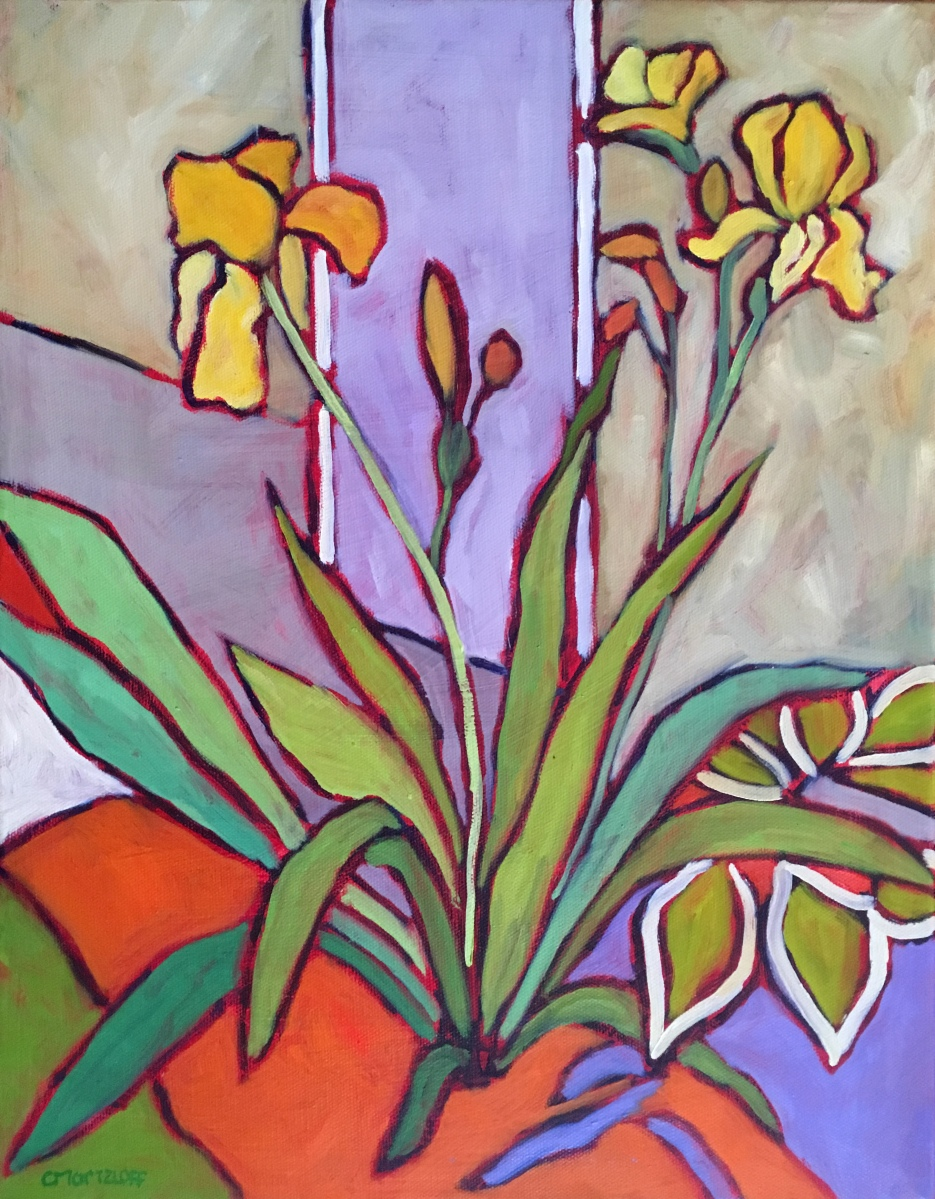 Oil Painting, Yellow Iris, Abstract Painting