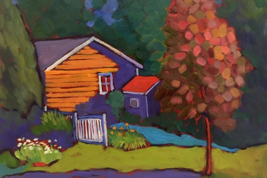 Plein Air Landscape Cottage and Trees
