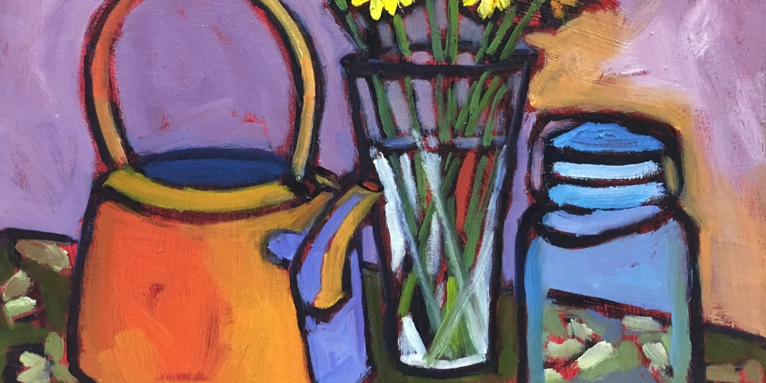 still life oil painting of daisies