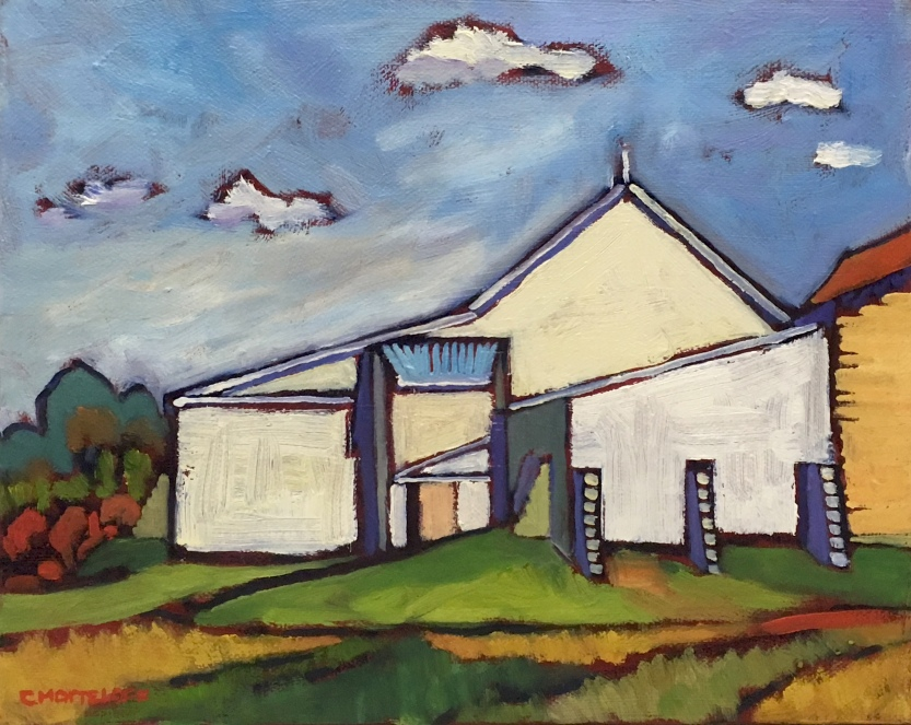 White Barn Oil Painting on canvas